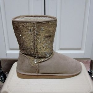NEW WOMEN'S SODA BLING-S SEQUIN FASHION boot-gold